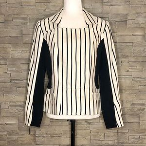 Andy The-Anh cream and black striped blazer